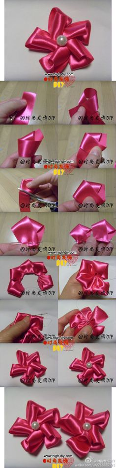 DYI Tut: Pink Satin Pin Wheel Ribbon Flower with a Pearl Center. Another language but good pics