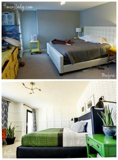 Master Bedroom Makeover. DIY Wing Bed, Herringbone Sharpie Wall, Painted sidetables. 4men1lady.com
