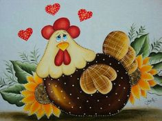 Paint colors from Chip It! by Sherwin-Williams. ChipCard by Reni Apostolova. Tole Painting, Fabric Painting, Painting On Wood, Chicken Crafts, Chicken Art, Chicken Quilt, Diy And Crafts, Arts And Crafts, Chicken Painting
