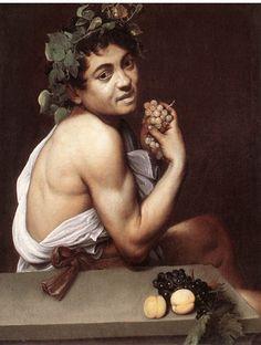 Caravaggio or Michelangelo Merisi o Amerighi da Caravaggio (Italian [Baroque] Self Portrait as Bacchus (also known as Sick Bacchus or Satyr with Grapes), circa Galleria Borghese, Rome. The Athenaeum Baroque Painting, Baroque Art, Italian Painters, Italian Artist, Art Du Temps, Michelangelo Caravaggio, Tableaux Vivants, Renaissance Kunst, Renaissance Artworks