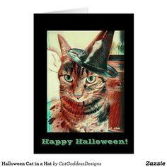 Shop Halloween Cat in a Hat Card created by CatGoddessDesigns. Halloween Cat, Halloween Themes, Friendship Wallpaper, Cat Insurance, Cat Urine, Dog List, Owning A Cat, Diy Wallpaper, Cat Room