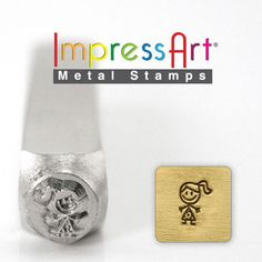 ImpressArt Metal Design Stamp, 6mm Daughter Girl Jenny Stick Figure Jewelry Leather Wood PMC by Fishlips3 on Etsy