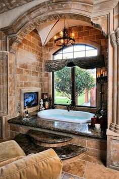 This is an incredible bathroom - especially the stonework!