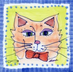 Decorative Whimsical Ceramic Tile Wall Art Hot Pad Trivet By Diane Artware - 6 X 6 Inch - Orange Tabby Cat by Artworks Home Accents. $10.00. Each tile measures 6x6 inches and has a hardboard backer for hanging or grouting.. Many uses: mounted wall art, incorporate into backsplashes, hot pads, trivets. Diane creates light hearted and humorous unique, hand painted. The artist is based in the Virgin Islands and her work is some of the most highly collected Caribbe...