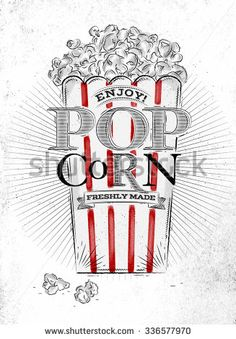 Poster popcorn salt, full bucket of popcorn salt, with blue lines, drawing on the old paper background Popcorn Bar, Butter Popcorn, Popcorn Packaging, Popcorn Company, Old Paper Background, Vintage Neon Signs, Yellow Line, Calligraphy Letters, Chalkboard Art