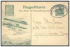 """Germany, German Empire, Flugpost 14.10.1912, Flugpost Frankfurt-Wiesbaden, 1 Mk.-GA-Postkarte """"Euler-Flugzeug über Rheingau"""", nach Thüringen weitergeleitet (Mi.-Nr.PP 27E7/02). Price Estimate (8/2016): 150 EUR. Unsold."""