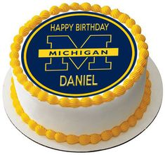 University of Michigan Edible Birthday Cake Topper