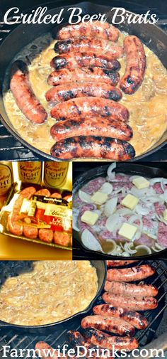 Perfect for Memorial Day and of July! Nothing beats a good brat. I now have my favorite way to make beer brats and onions with this grilled beer brats in a beer hot tub recipe. Bratwurst Recipes, Beer Recipes, Sausage Recipes, Grilling Recipes, Pork Recipes, Cooking Recipes, Grilling Ideas, Smoker Recipes, Recipes With Brats