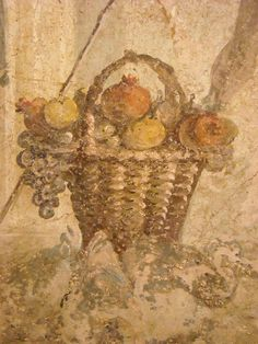 Grapes and pomegranatets (Detail) - Pirithous, with Hippodamia, receives homage from one of the centaurs, who are guests at his wedding - from Pompeii - Naples Archaeological Museum