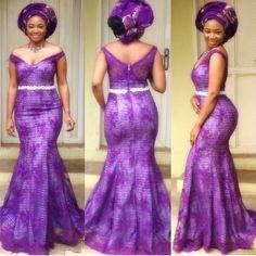 Royal purple Nigerian wedding bride gele