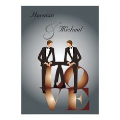 Two Grooms Gay LOVE Wedding Invitation