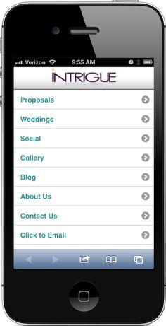 Mobile website for Intrigued Designs & Events - www.get-intrigued.com