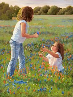 """Wild Pickin's - 2 Little Girls Picking Wild Flowers - June Dudley is a native Texan who grew up on a ranch, and she loves to paint the Western way of life. In many of her images, she features the wonderful children she also loves to paint. Spring in Texas is an endless blanket of fields of color along the rural roads with the many varieties of wild flowers.  These two little girls are enthralled with the blooms that surround them as they select a beautiful bouquet.from the """"Wild Pickin's""""."""