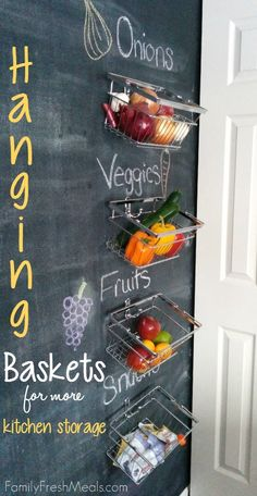 "Looking to keep your fruits and vegetables fresh and organized in the kitchen? Try this simple DIY Hanging Baskets project for more storage + the baskets are low enough to keep the kiddos from yelling ""Mooooom…can you get me a snack?"""
