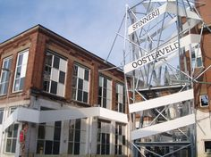 Tensioned fabric Wrap around building. Enschede Holland