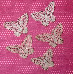 5 Antique Lace Vintage Lace Filet Lace Butterflies by dishyvintage, $6.50