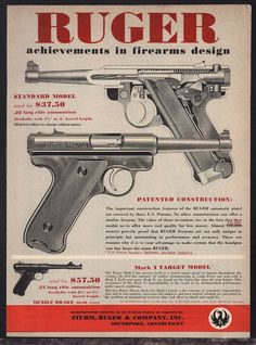 1957 RUGER Standard & Mark I Target Model PISTOL AD 120,000 owners #Ruger