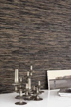 Luxury weaving collection - Abaca bark and foil handmade weave on non woven backing. useful width 110cm #new #elitis #wallcovering