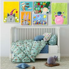 Oil Painting Cartoon Canvas Art Poster Nursery Picture Children Room Decoration