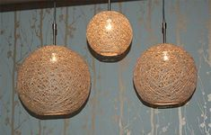 Home-Dzine - How to make a lampshade using string or twine - alternate version of the lace lamp. SUPER cool idea. You can use various strings, I'm thinking about using cotton yarn. One pinner had a lamp made from a therapy ball - huge and tres cool.
