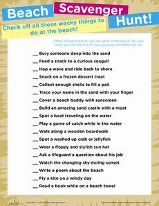 Beach Scavenger Hunt Worksheet