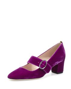 "Tartt Velvet Mary Jane Pump, Fuxia  SJP by Sarah Jessica Parker velvet pump. 2.5"" covered block heel. Round toe. Jeweled Mary Jane strap."