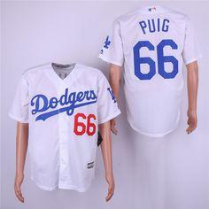 7ffe4afac4d Dodgers 66 Yasiel Puig White Cool Base Jersey