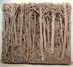 A cardboard forest