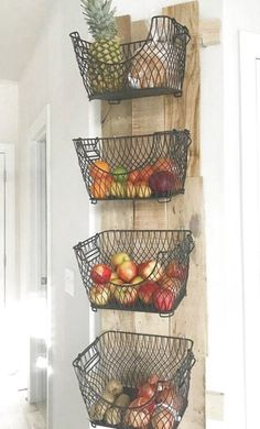 DIY wall mount for fruits and vegetables # storage # kitchen # vegetables -… - Diy Möbel Diy Furniture Building, Home Furniture, Fruit And Vegetable Storage, Grey Floor Tiles, Diy Kitchen Storage, Kitchen Organization, Organization Ideas, Wood Pallets, Pallet Wood