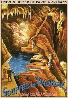 Vintage Railway Travel Poster: Gouffre De Padirac -