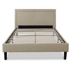 Platform Bed Mattress, Queen Size Platform Bed, Full Platform Bed, Platform Bed Frame, Upholstered Platform Bed, Gray Upholstered Headboard, Headboard Frame, Headboard Ideas, Wooden Slats