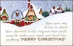 Whitney - Vintage Art Deco Christmas Postcard Snow Falling Sideways, Lantern Arch Gate Homes