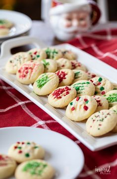 Whipped Shortbread Cookies for Christmas #shortbread #christmas #cookie #recipe #holidaybaking #sprinkles
