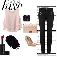 Casual Luxe by quinn-l-fabrey on Polyvore featuring moda, Chicwish, J Brand, Gianvito Rossi, Chanel, Oasis, Butter London and Arche