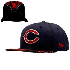 bf33c263f Chicago Bears 2017 Draft Liquid Chrome Logo and Logo Wrap Flat Bill Snapback  Hat