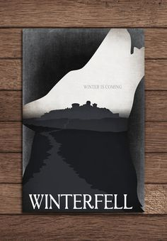 12x18 GAME OF THRONES Minimalist Travel Poster - House Stark. $15.00, via Etsy.