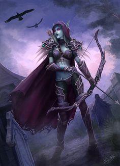 Lady Sylvanas Windrunner - World of Warcraft Fantasy Female Warrior, Fantasy Girl, Fantasy Characters, Female Characters, Dota 2 Heroes, Lady Sylvanas, Banshee Queen, Sylvanas Windrunner, Wow World