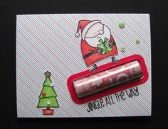 MFT Card Challenges: You've Been Spotted - December 2017 Christmas Cards 2017, Christmas Paper Crafts, Xmas Cards, Diy Christmas Gifts, Lip Balm Packaging, Diy Lip Balm, Money Cards, Chapstick Holder, December 12