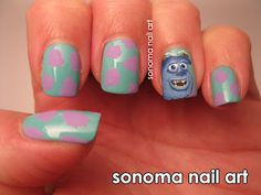 Sully from Monsters Inc. nail art.  #Halloween #nailart #costumes