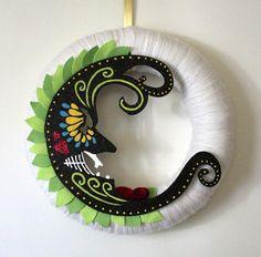 Moon Wreath, Handpainted Wreath, Day of the Dead Inspired Wreath, Yarn and Felt Wreath,