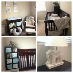 Grey and blue nursery with chevron and elephants!!