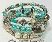 Blue & Silver Memory Wire Bracelet - Wrap Bracelet - Blue Wrap Bracelet - Handmade Glass Pearl Bracelet - Blue Pastel Beaded Bracelet TDC342