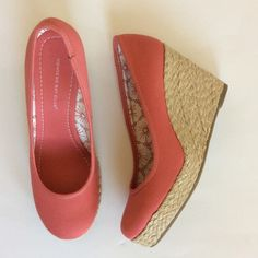 """Montego Bay Club Espadrilles Montego Bay Club Espadrilles. Super cute coral color. Great summer staple! Fabric upper. Approx 3 3/4"""" heel with approx 1"""" platform. Size 6.5. Excellent condition. Montego Bay Club Shoes Espadrilles"""