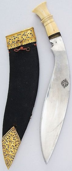 Indian or Nepalese (Gurkha) kukri, 19th century, steel, ivory, gold, silver, wood, leather, H. with sheath 18 1/4 in. (46.4 cm); H. without sheath 17 1/8 in. (43.5 cm); W. 2 1/8 in. (5.4 cm); Wt. 24.9 oz. (705.9 g); Wt. of sheath 8.2 oz. (232.5 g), Met Museum,  Bequest of George C. Stone, 1935.