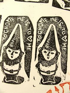 to gnome me is to <3 me ...    fun new tiny rubber stamp design just carved and ready for making holiday gift tags!