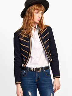 Online shopping for Navy Embroidered Tape Military Jacket from a great selection of women's fashion clothing & more at MakeMeChic.COM.  $39.90