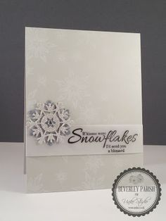 handmade card from Uniko Studio ... white and grays ... clean and simple ... layered die cut snowflake ... like it!