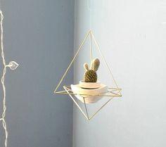 geometric hanger planter with a little white ceramic flower pot | himmeli diamond | gold hanging terrarium geometric mobile | air plant