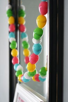 Cute easter garland made of plastic eggs
