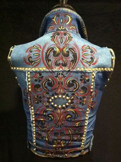 Hand painted up-cycled denim vest! Red, black, and gold paint finished off with gold studs and red Swarovski crystals! $250.00